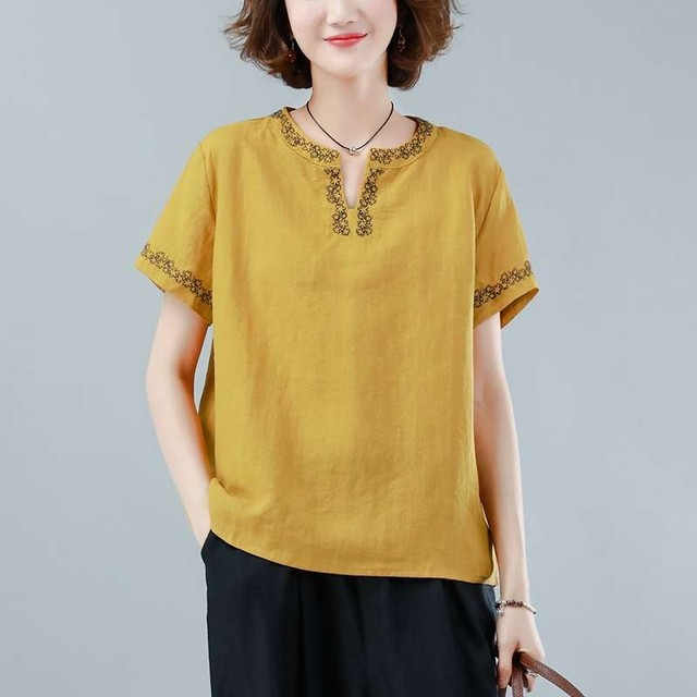 Oversized Cotton Linen Shirt Women Summer Loose Casual Tops New 2020 Simple Style Vintage Embroidery Woman Blouses Shirts P1316 1