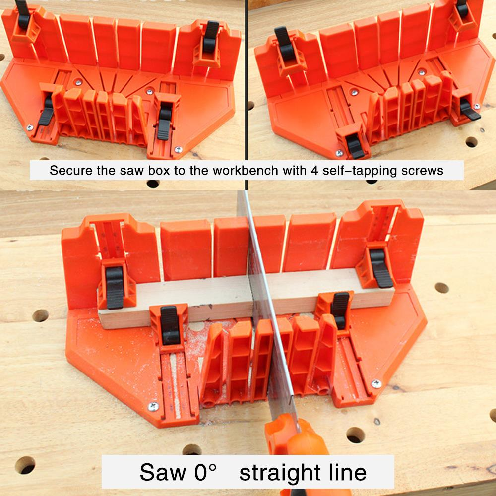 ABS Plastic Multipurpose Woodworking Miter Saw 3 Specifications Practical Clip Back Saw Box Wood Tool Durable Miter Groove