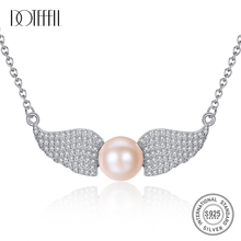 DOTEFFIL 100% 925 Silver Angel Wings Pearl Necklace 9-9.5MM Natural Freshwater Pearl Pendant Necklace Pearl Jewelry Women Gift