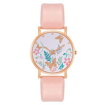 Butterfly Dial Design Watches Women Fashion Casual Leather Watch Qualities Ladies Wristwatches Female Quartz Clock Montre Femme cute pink leather watches for women luxury rose gold metal case quartz clock ladies love crystal dial wristwatches montre femme