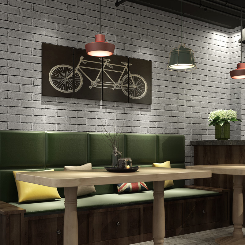 New Chinese Style Three-dimensional Sense Of Strong Brick Pattern Self-Adhesive Wallpaper Stores Clubhouse Restaurant Shopping M