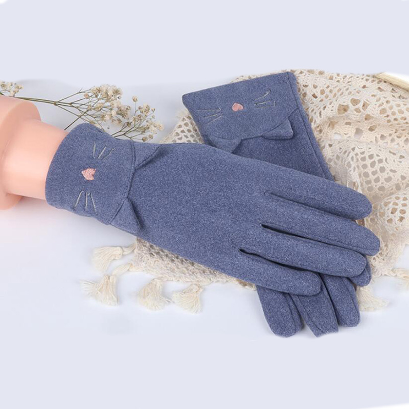 Female Autumn Cute Rabbit Cat Embroidery Gloves Cashmere Elastic  Driving Gloves Women Rabbit Fur Thin Cycling Warm Gloves D50