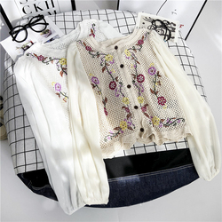 Women Embroidery short Cardigan tops sexy organza chiffon sleeve patchwork knitted blouses Hollow out loose chic shirts tops