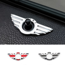 1 pçs 3d metal porta pino emblema asa adesivo decalque acessórios de automóvel para bmw mini cooper/s/um/roadster/clubman/coupe