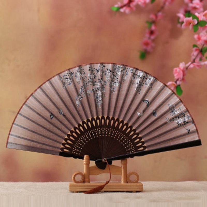 Decorative Fans Vintage Chinese Blossom Spun Silk Flower Printed Hand Fan Folding Hollow Carved Decoration Crafts Dropshipping