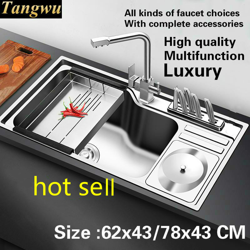 Free Shipping Household Standard Kitchen Sink Durable 0.9 Mm Food Grade Stainless Steel Hot Sell 57x43/68x45/78x43 CM