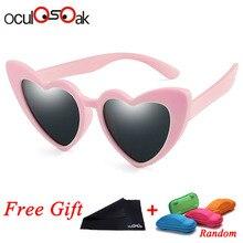 TR90 Дети поляризованные солнцезащитные очки для женщин и принтом в виде сердец; солнечные очки для мальчиков и девочек силиконовые UV400 ребенка зеркало детские очки Gafas с коробкой