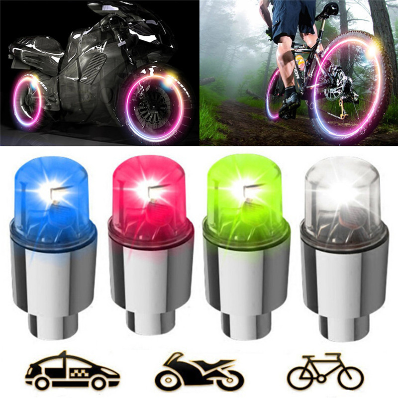 4pc Bike Car Motorcycle Wheel Tire Tyre Valve Cap Spoke Neon LED Flash Light Hot