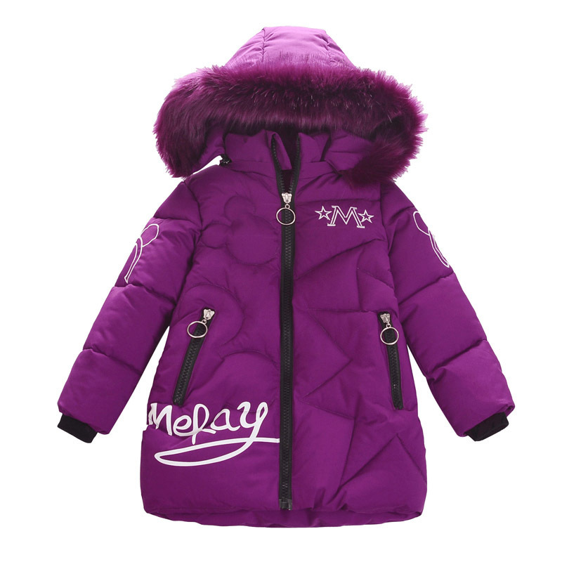2020 New Girl Clothes Winter Down Cotton Jackets Baby Outdoor Warm Clothing Thick Coats Children's Kids Cartoon Outerwear Parka