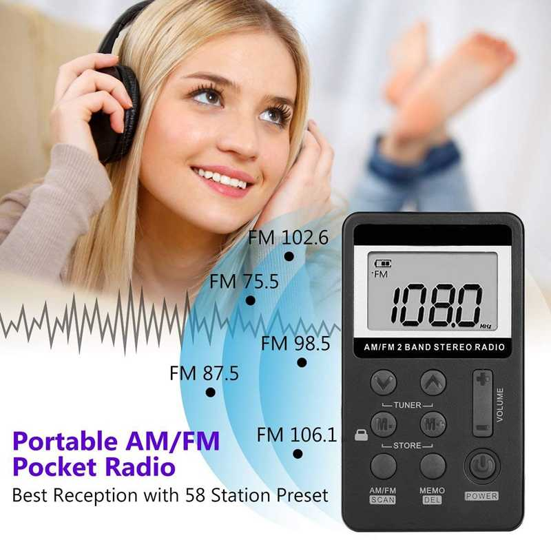 Am Fm Tasca Portatile Radio, mini Sintonia Digitale Stereo con Batteria Ricaricabile E Auricolare per Camminare/da Jogging/Palestra/Campeggio (Bla