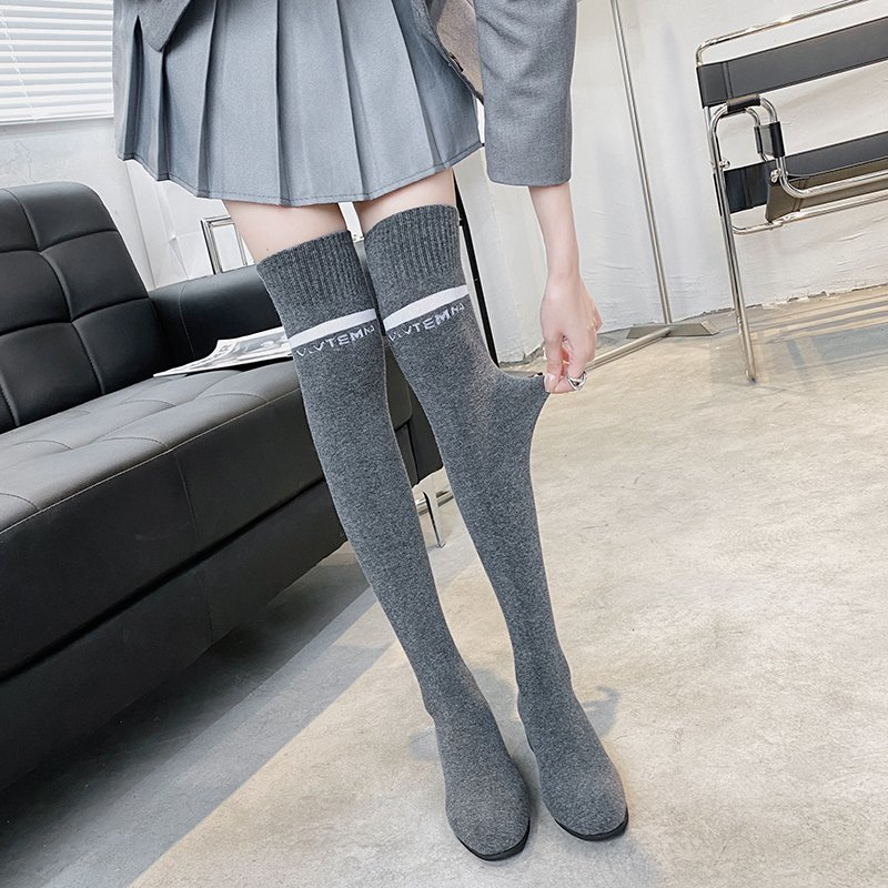 Fashion Over The Knee Sock Boots Women 2021 Spring New Warm Mid Heels Boot OverKnee Boots Woman Gray Soft Long Tube Shoes Female