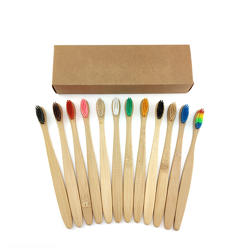 12 pcs/<font><b>Pack</b></font> Natural Pure <font><b>Bamboo</b></font> <font><b>Toothbrush</b></font> table Soft Hair Tooth Brush Eco Friendly Brushes Oral Cleaning Care Tools image