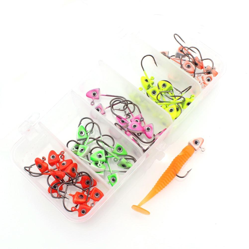 50pcs/lot 1.6g Lead Jig Head Barbed Hooks Lure Soft Worm Bait Wobblers Fishing Tackle Crankbaits accessories  With A Plastic Box|Fishhooks|   - AliExpress