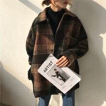Chaqueta Vintage de mujer de invierno de cuello vuelto chaqueta de cuadros de oficina Blazer de tela de mujer de un solo pecho prendas de vestir de lana coreana