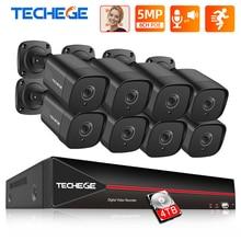 Techege 8CH H.265 Kit NVR POE da 5mp Kit di telecamere di sicurezza CCTV a controllo facciale Kit di telecamere di videosorveglianza Onvif per esterni