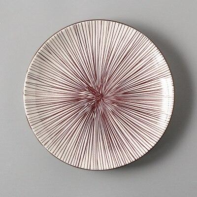 Креативный японский стиль 8 керамическая тарелка дюймовая посуда для завтрака говядины десертное блюдо для закусок простое мелкое блюдо домашнее блюдо для стейков - Цвет: 4