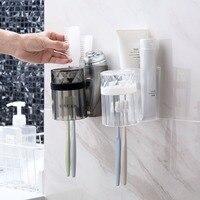 Wall mounted toothbrush titular rack com copo escova de dentes caso capa facial limpador de creme dental titular prateleira de armazenamento do banheiro