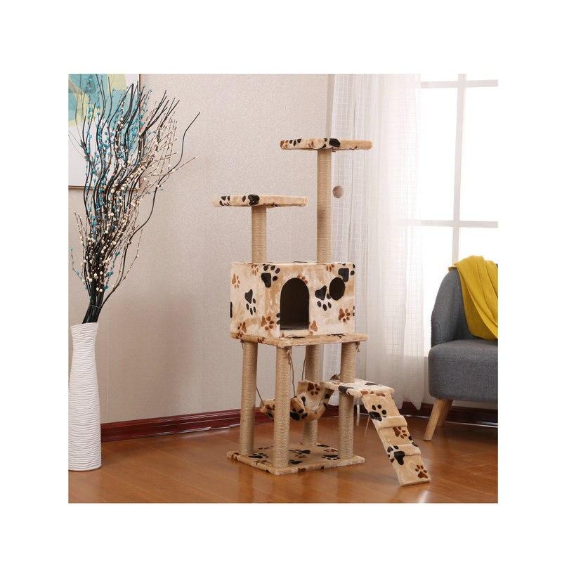 Wholesale Berber Fleece Cat Nest Cat Climbing Frame Cat Nest Cat Tree Scratching Pole Cat Scratch Trees Multilayer Wood Cat Supp