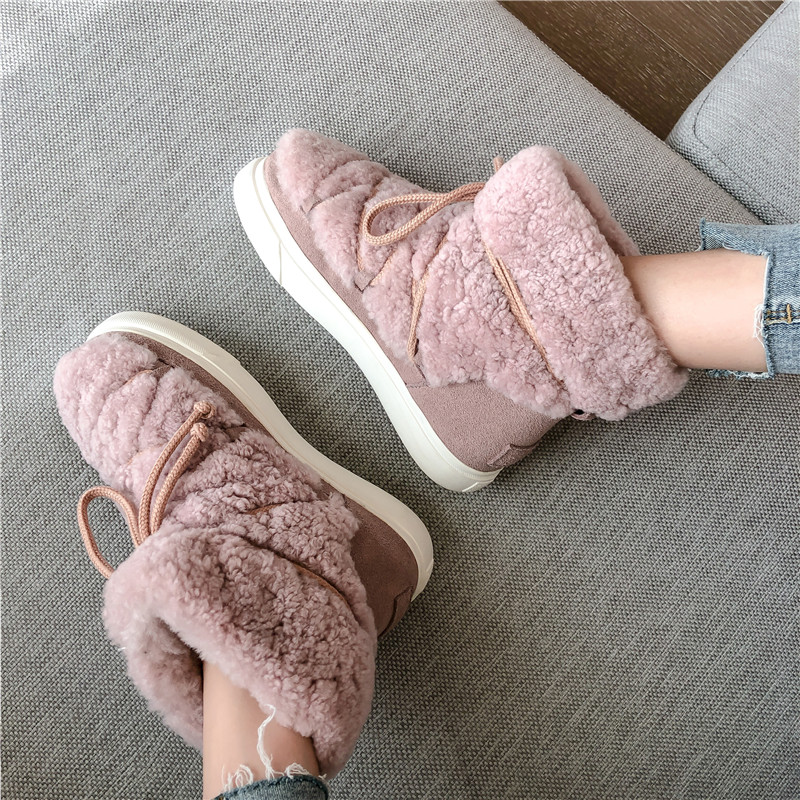 Sweet Women Wool Cow Suede Ankle Boots Female Big Size Snow Boots Dancing Casual Shoes Woman Newest Flats Platform Boots 36
