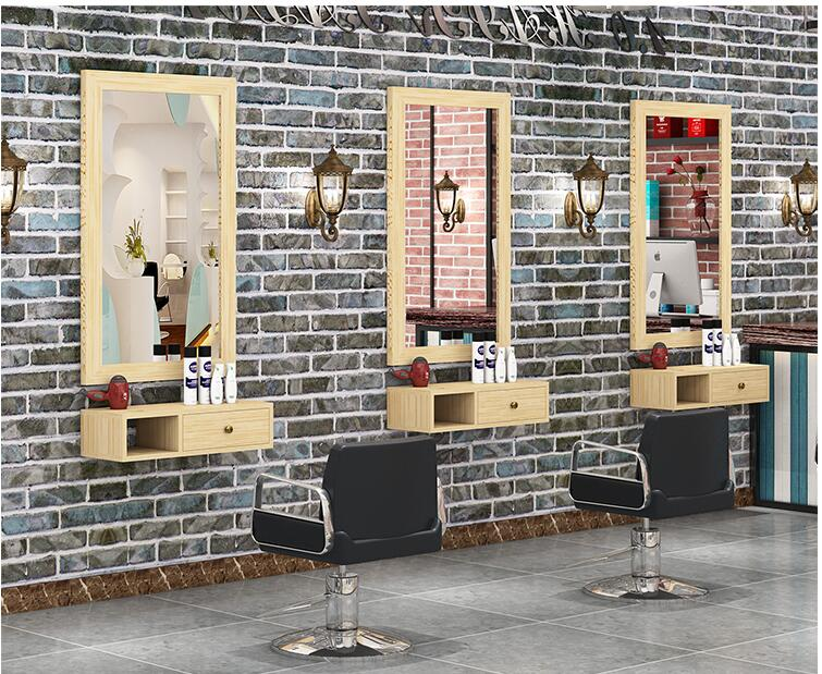 Real Wood Retro Barber Shop Mirror Barber Shop Wall Hanging Cosmetics One-sided Frame Balcony Floor Tool Cabinet