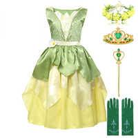 Bajka księżniczka i żaba kostium dla dzieci w wieku 3-8 lat dziewczyna księżniczka Tiana sukienka urodziny Fantasy suknia sukienki imprezowe