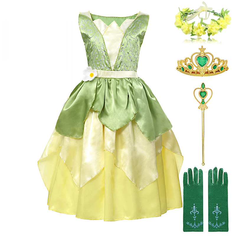 Fairy Tale The Princess and the Frog Costume for Kids Age 3 8 Years Girl Princess Tiana Dress Birthday Fantasy Gown Party Frock|Dresses|   - AliExpress