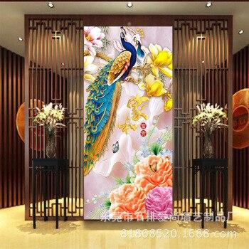 3D Magnolia Peacock and Rich TV Backdrop Sofa Bedroom Wall Wallpaper Mural