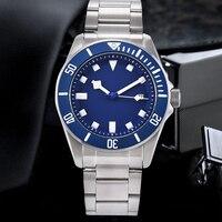Relógio de luxo mecânico automático masculino 42.5mm 316 aço inoxidável caso militar esportes relógio calendário mostrador azul luminoso