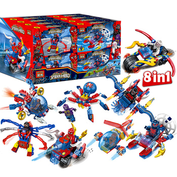8pcs Spider Man Figure Motorcycle Helicopter Spiderman Marvel Super Hero Model Building Blocks Set Bricks Toys