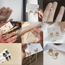 2021 Korean Cute Rhinestone Earrings For Women Fashion Cross Moon Heart Pearl Earrings Deer Butterfly Dangle Earrings Jewelry