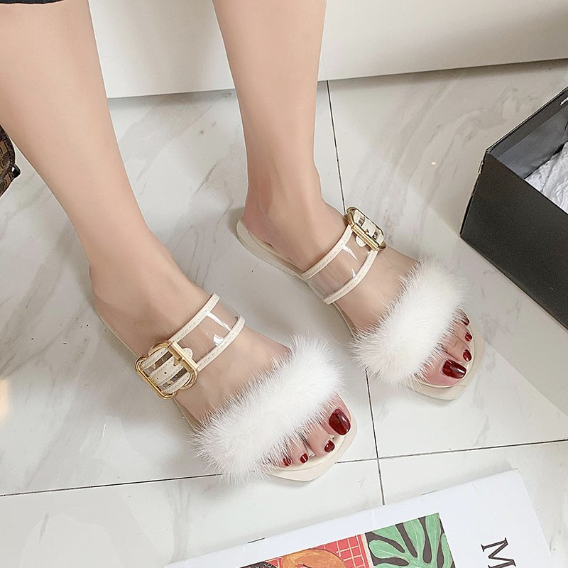 2020 new summer fashion outer wear plush slippers female word square head flat sandals and slippers wild plush shoes X101