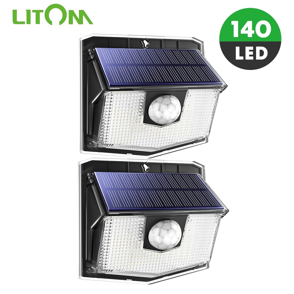 LITOM 140 LED Solar Light Upgraded IPX7 Waterproof Wireless PIR Motion Sensor Wall Lights With 3 Lighting Modes New Outdoor Lamp