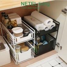Ящик для хранения 2 яруса раздвижной шкаф корзина выдвижной