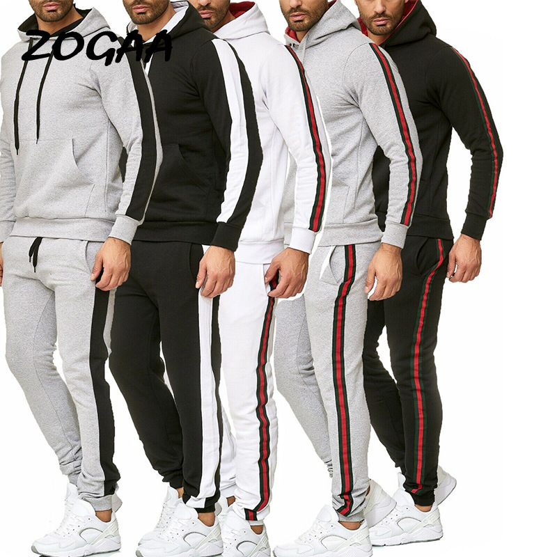 ZOGAA Autumn And Winter New Explosion Models Men's Casual Sports Suit Color Matching Stitching Suit Male Multi-color Optional