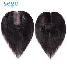 SEGO человеческие волосы Топпер парик для женщин 10*12 см Сварка& моно база с 3 клипсами в парике волос не Реми шиньон натуральный черный цвет
