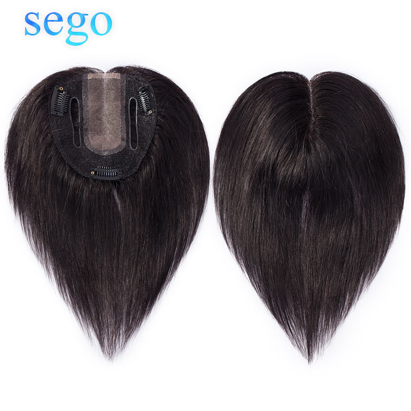SEGO Human Hair Topper Wig For Women 10*12cm Weld&MONO Base With 3 Clips In Hair Toupee Non-Remy Hairpiece Natural Black Color