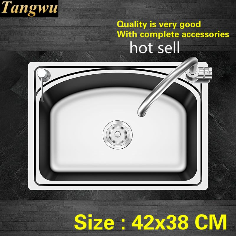 Free Shipping Standard Balcony High Quality Kitchen Single Trough Sink 304 Food-grade Stainless Steel Mini Hot Sell  420x380 MM