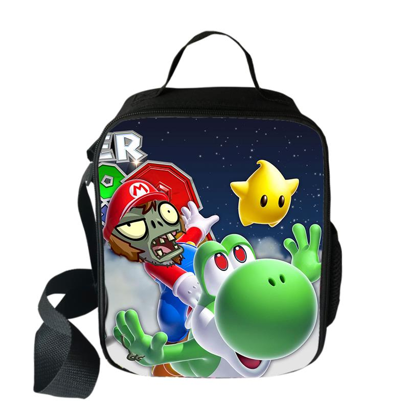 Plants VS Zombie Mario Cooler Lunch Bag Cartoon Girls Portable Thermal Food Picnic Bags For School Boys Lunch Box Tote