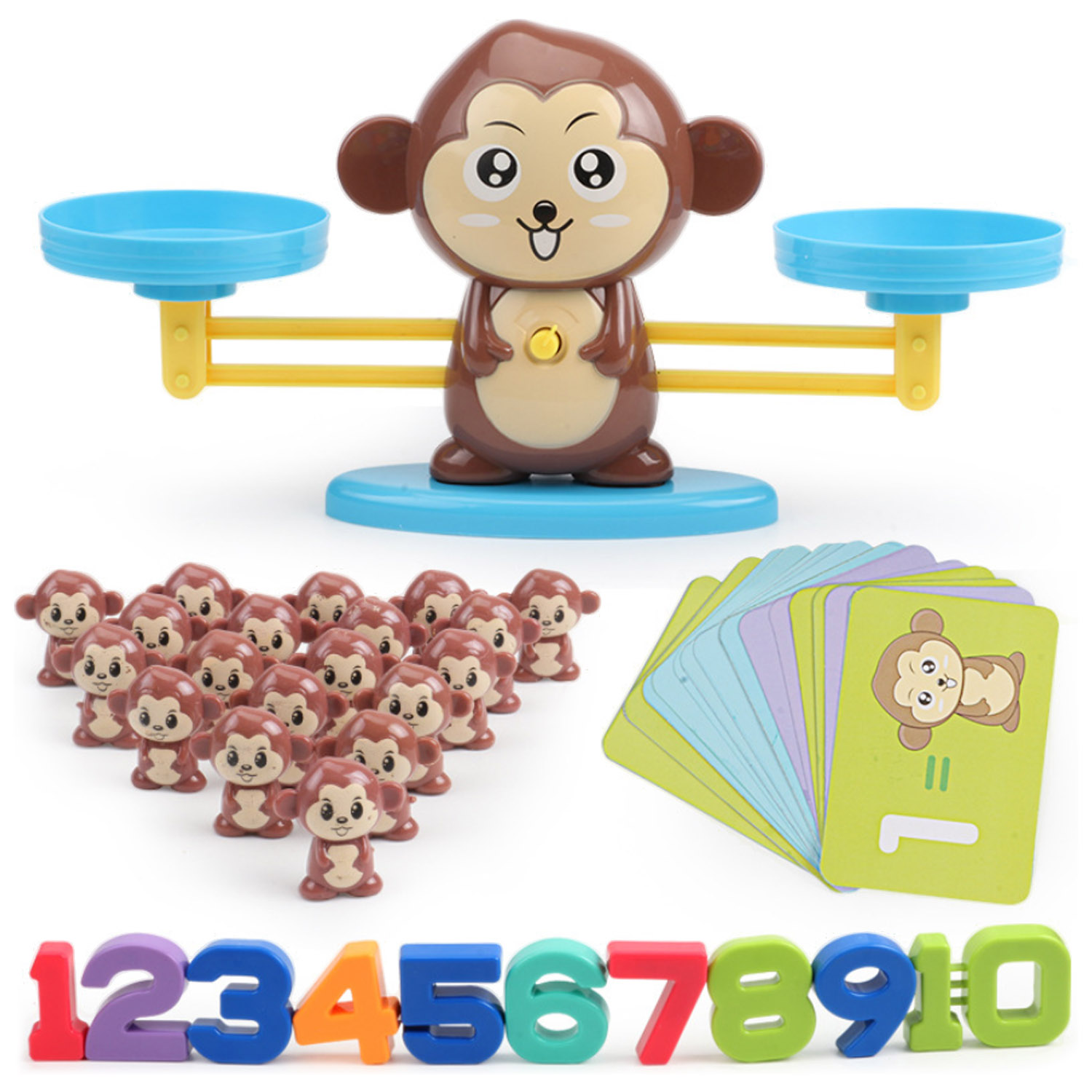 Montessori Math Balance Scale Number Board Game Math Game Learn Add And Subtract Material For Kid Early Educational Counting Toy