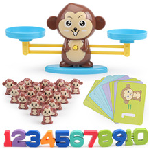 Montessori Math Balance Scale Number Board Game Math Game Learn Add and Subtract Material for Kid Early Educational Counting Toy monkey number balance math toys match balancing scale game board game educational toy for child to learn add and subtract