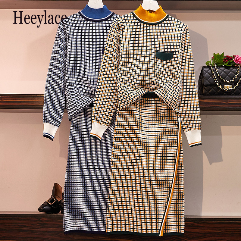 Plus Size 2019 Autumn Knitted Plaid Two Piece Sets Outfits Women Long Sleeve Sweater And Skirt Suits Elegant Korean Lady Set 5XL