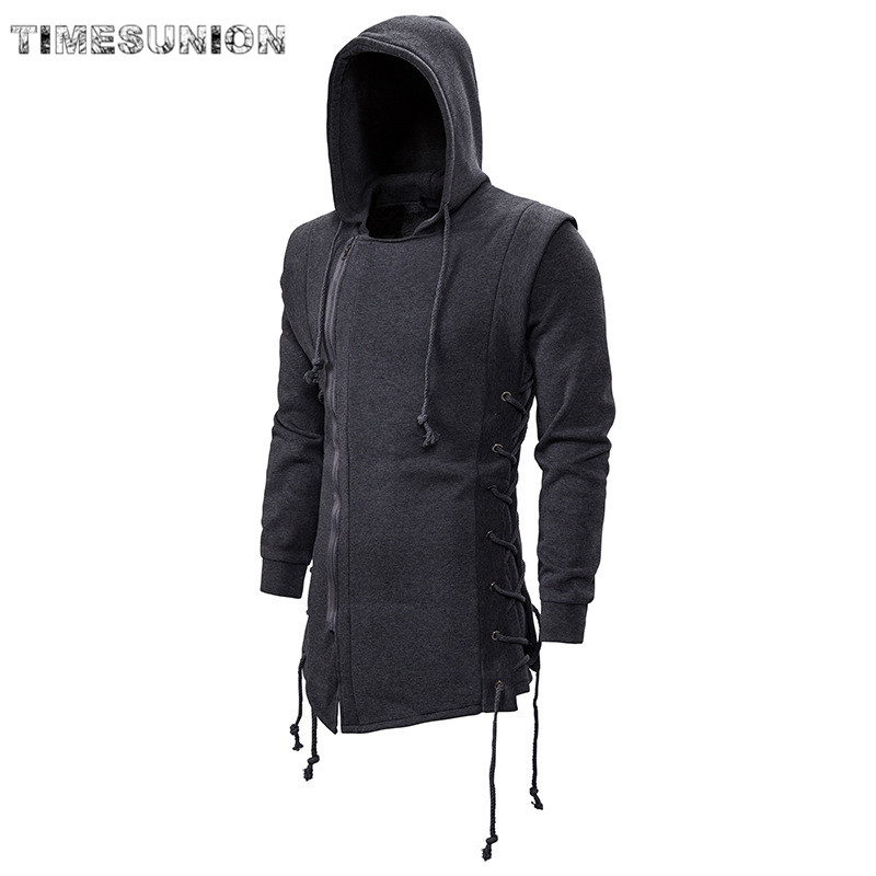 2020 Assassin Creed Sweatercoat Dark Tie Hooded Loose Coat Zipper Hoodies With Side Lashing Crossed Black Dark Grey Hoodies Men