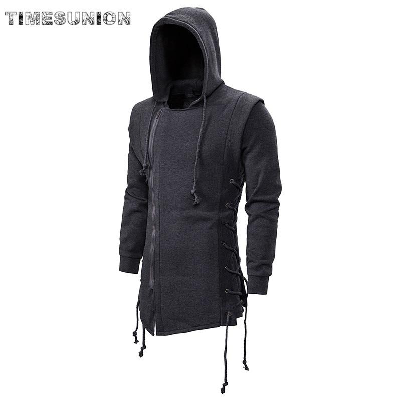 2020 Assassin Creed Sweatercoat Dark Tie Hooded Loose Coat Zipper Hoodies With Side Lashing Crossed Black Dark Grey Hoodies Men