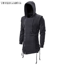 2020 Assassin Creed Sweatercoat Dark Stropdas Hooded Losse Jas Rits Hoodies Met Side Sjorren Gekruiste Black Dark Grey Hoodies Mannen(China)