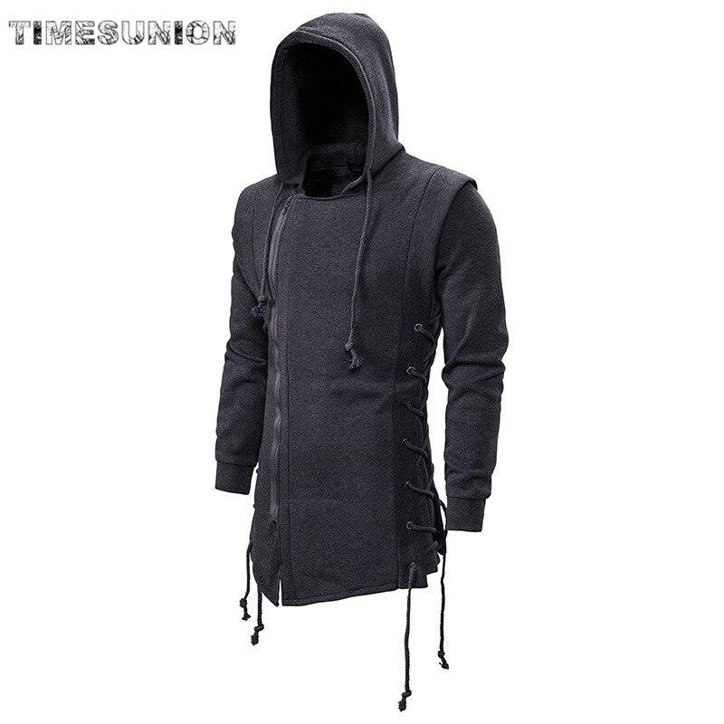 2020 Assassin Creed Sweatercoat Dark Tie bluza z kapturem luźny płaszcz bluzy z kapturem na zamek z bocznym mocowaniem skrzyżowane czarne ciemnoszare