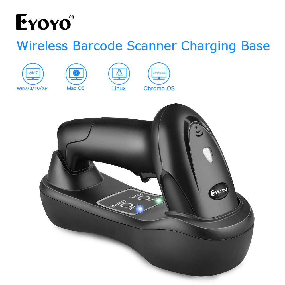 Eyoyo EY-6900D 1D Handheld Wireless Barcode Scanner Reader ชาร์จ USB ฐานชาร์จไฟสแกนบาร์โค้ดสแกนแบบพกพา