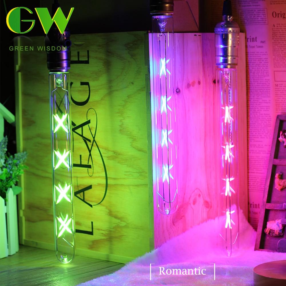 8W T300 LED Tubular Filament Bulb Lamp Vintage E27 220V Energy Saving Lamps Warm White Green Pink Red Blue Retro Long Light Bulb