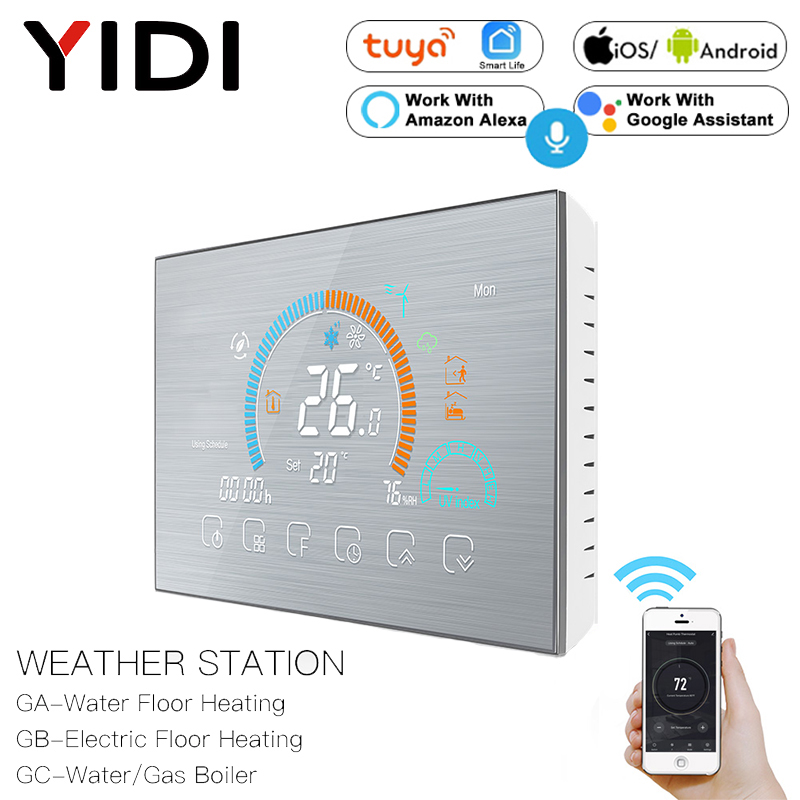 WiFi Thermostat Programmable Temperature Controller Underfloor Water/Gas Boiler Weather Station Tuya Smart Alexa Voice Control