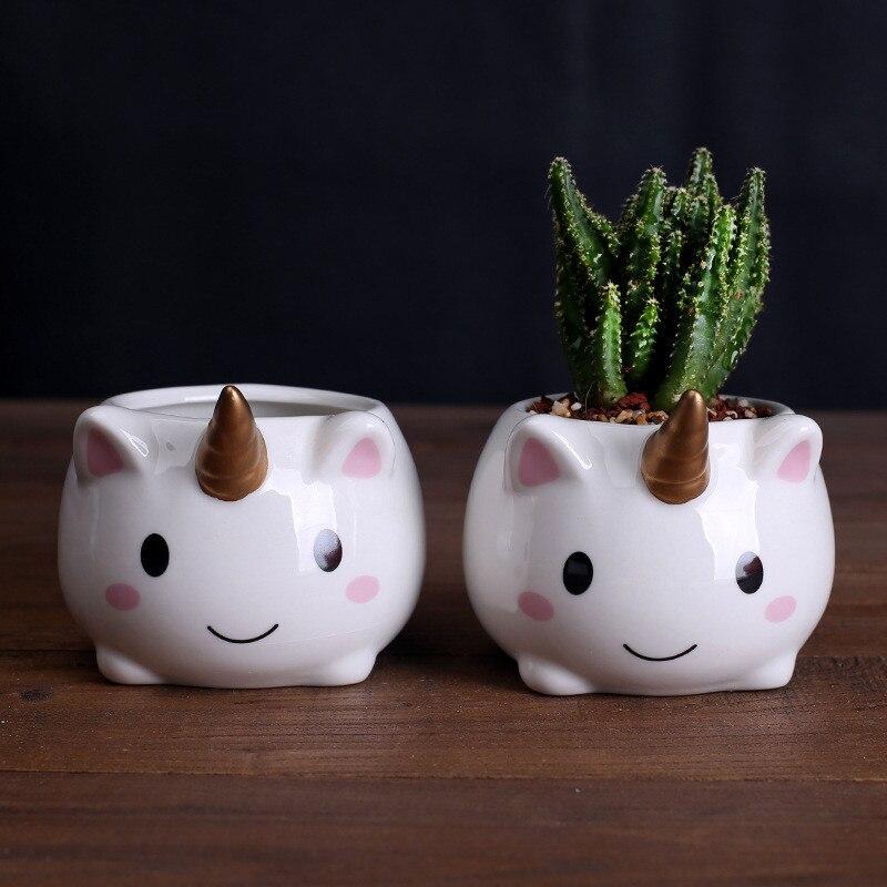 Cute Cartoon Unicorn Flower Pot Ceramic Flowerpot Succulent Plant Container Green Planters Small Bonsai Pots Home Decoration