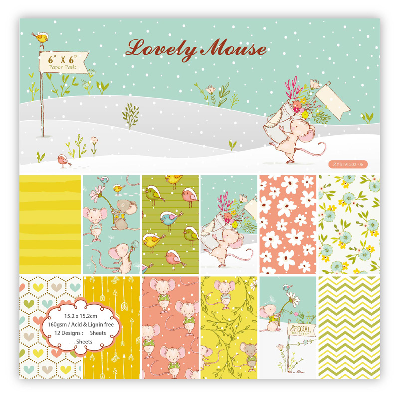 KLJUYP 12 Sheets Lovely Mouse Scrapbooking Pads Paper Origami Art Background Paper Card Making DIY Scrapbook Paper Craft